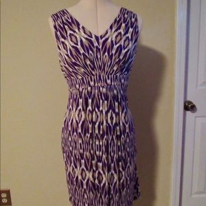 Loft purple and cream v-neck sleeveless dress